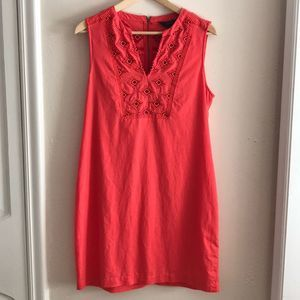 J. Crew Red Embroidered Linen Blend Dress